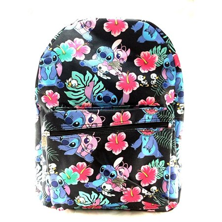 Lilo and Stitch Allover Black 16 Girls Large School Backpack