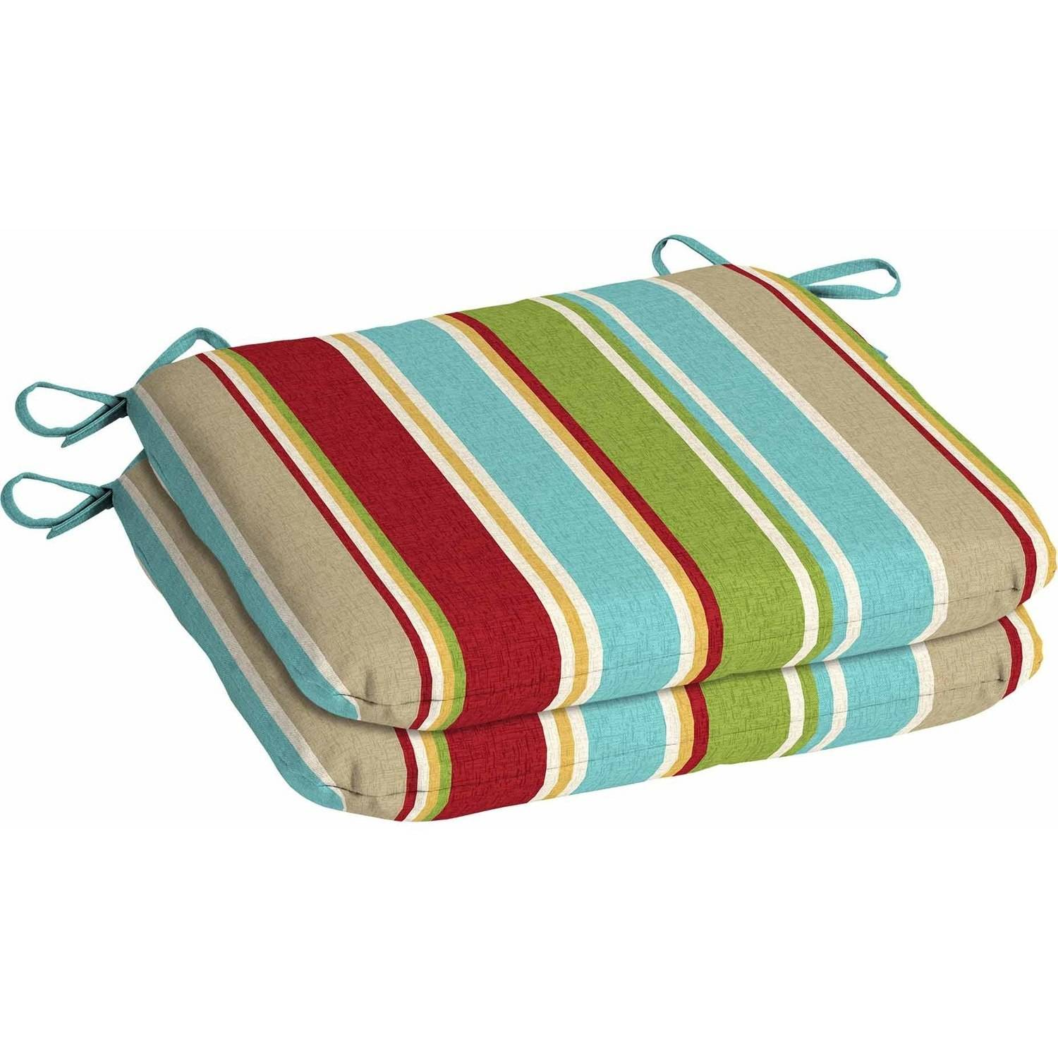 Mainstays Outdoor Patio Seat Pad, Set of 2, Grey Stripe