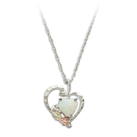 Black Hills Gold Heart Pendant in Sterling Silver with 7X7 MM Created Opal