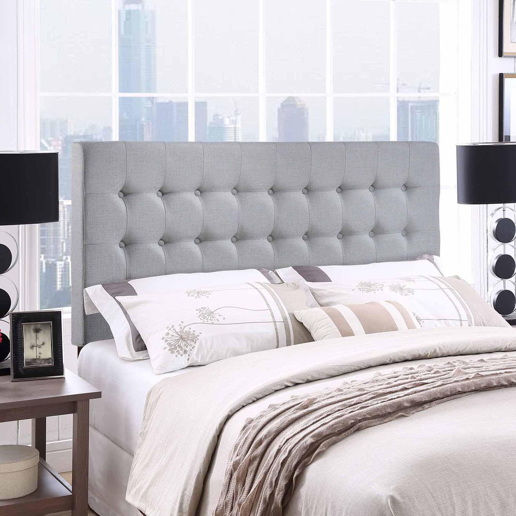 modway tinble queen tufted upholstered headboard in gray  walmartcom -