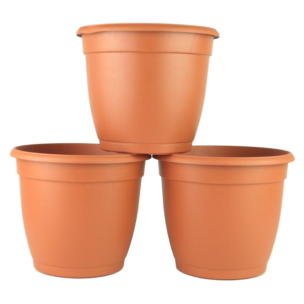 8 in. Decorative Terra Cotta Plastic Pot (3-pack)