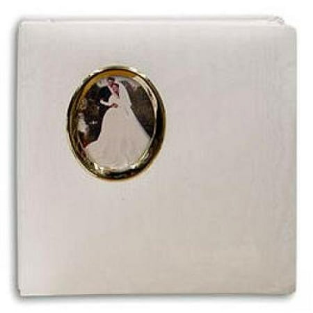 Pioneer Oval Framed Wedding Photo Album, Moire Fabric Cover with Gold Photo Frame, Holds 100 5x7