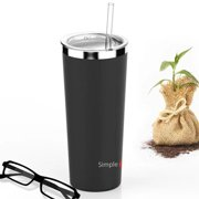 SimpleHH 22OZ Stainless Steel Tumbler Vacuum Insulated Coffee Cup Double Wall Travel Flask Mug with Lid and Straw, Black (Multi-color selection)