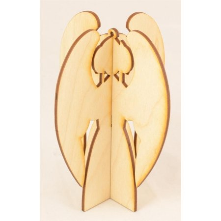 "1 Pc, Medium 4.5"" X 3.25"" 3D Wood Angel Ornament For Home & Holiday Decor"