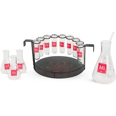 15-Piece Science Themed Novelty Shot Glass Bar Set with Chemistry Glassware and Serving Tray - Halloween Themed Cocktails Shots