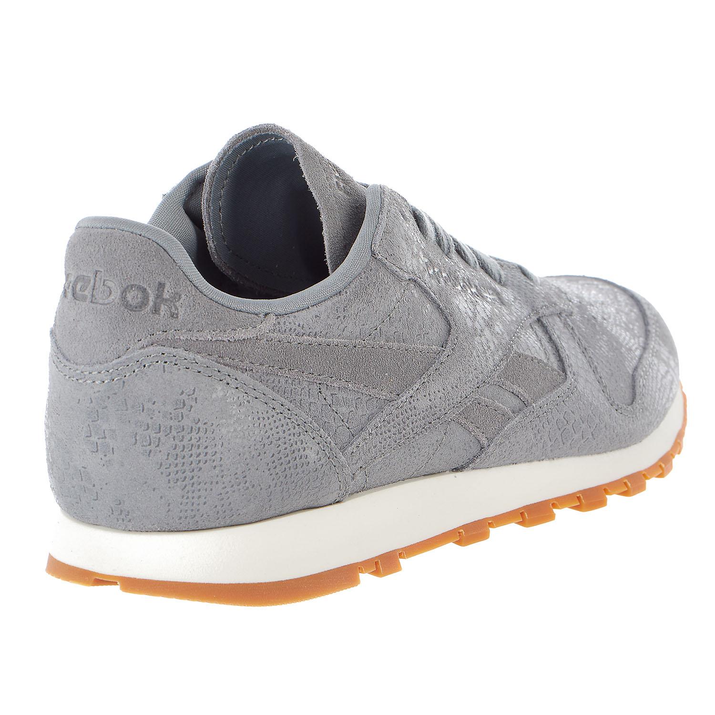 Reebok CL Lthr Clean Exotic Print Track Shoe Womens