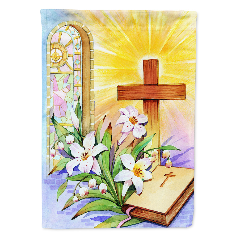 Easter Cross and Bible in Stain Glass Window Garden Flag
