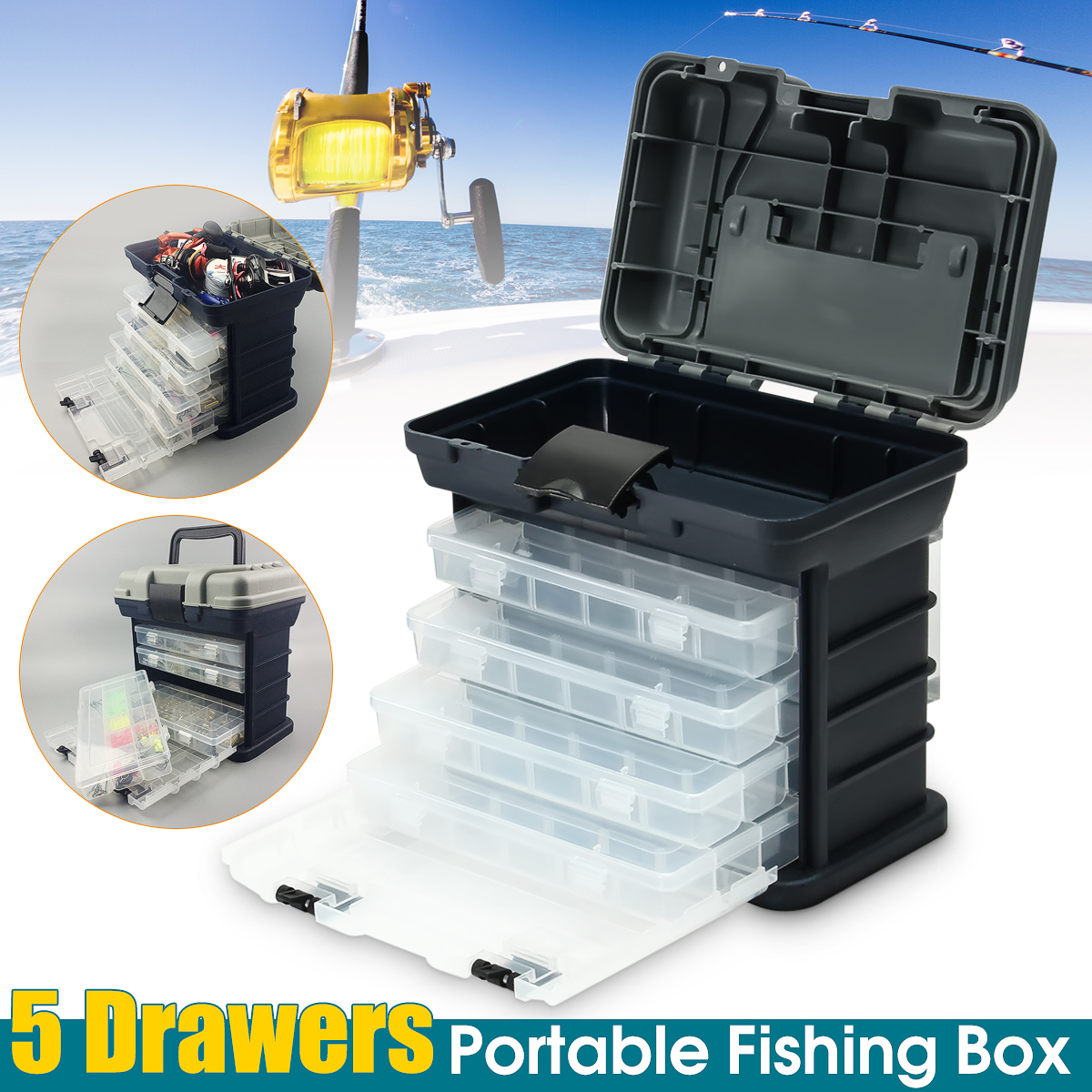 4 Layers Multifunctional Portable Fishing Tackle Box Drawer Tray Bait Case Tool Organizer Lures Storage ,... by