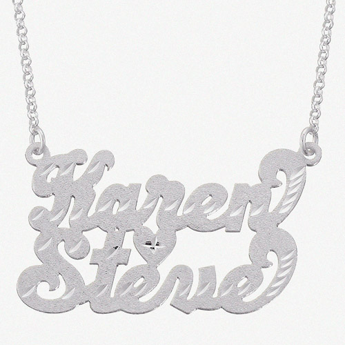Personalized Sterling Silver Diamond-Cut Couple's Script Name Pendant, 18""