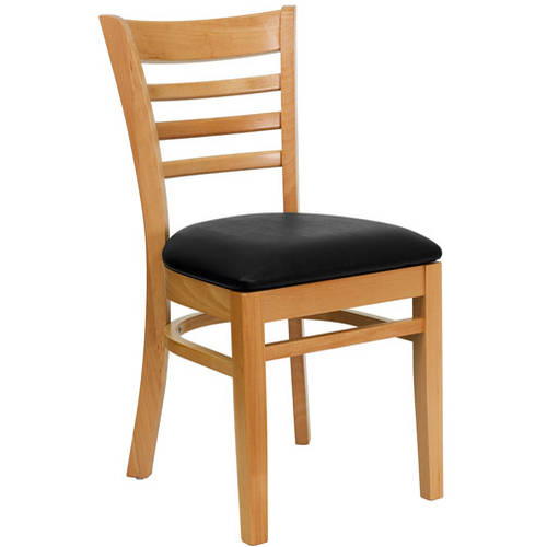 Ladder Back Chairs - Set of 2, Natural / Black Vinyl Seat
