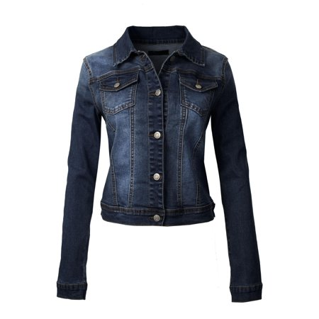 Made by Olivia Women's Classic Casual Vintage Blue Stone Washed Denim Jean Jacket Vintage Denim Jacket