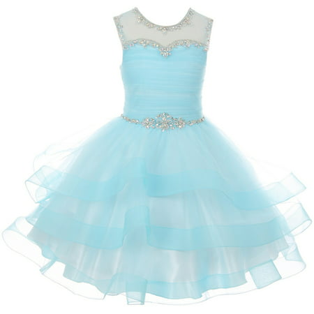 Pageant Party Blue Dress (Little Girl Gorgeous Beaded Rhinestones Pageant Gown Party Flower Girl Dress Blue 4 CC 5050 BNY)