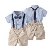 Baby Boy 2PCS Outfit Set, Bow Folded Collar Top, Short Suspender Pants Set