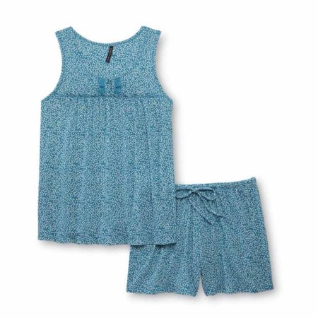 Jaclyn Intimates Womens Blue Floral Pajamas Lightweight Pajama Set Shorts Tank Small