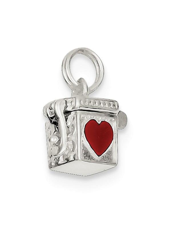 Jewelry Best Seller Sterling Silver Enameled Heart Prayer Box Charm