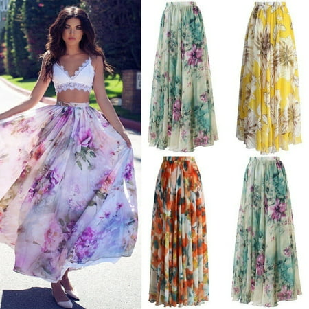 Summer Women Chiffon Floral Boho Dress Full Skirt Evening Party Long Maxi Dress - Full Skirt Dress