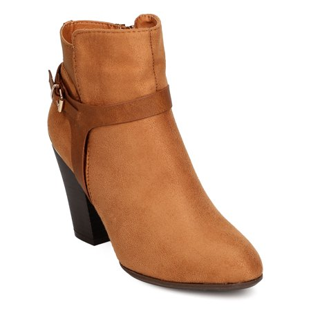 Brown Suede High Heel - Nature Breeze FF40 Women Faux Suede Harness Buckle Chunky Heel Bootie