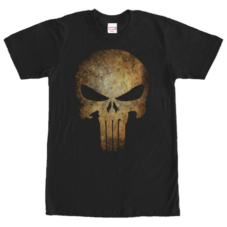 Marvel Men's Punisher Aged Skull Symbol T-Shirt (Punisher Shirt)