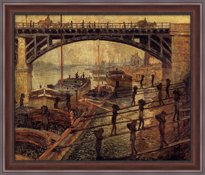 Coal Dockers 32x28 Large Walnut Ornate Wood Framed Canvas Art by Claude Monet by FrameToWall