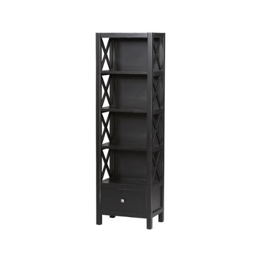 linon elsa black collection narrow 5 shelf bookcase