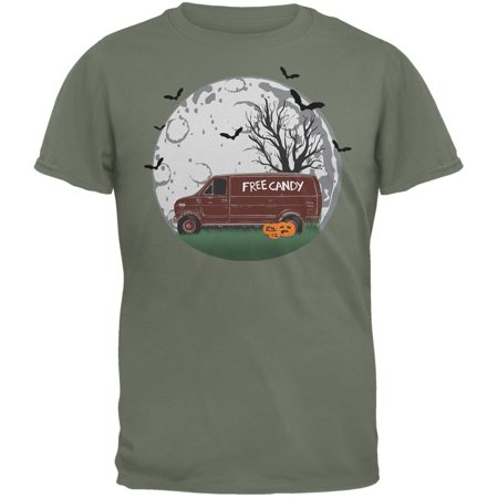 Halloween Free Candy Van Military Green Adult T-Shirt - Van Halloween