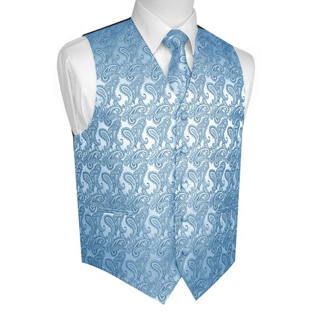 Brand Q Paisley Royal Blue Tone on Tone Neck Tie Hankie Set Party Wedding Prom