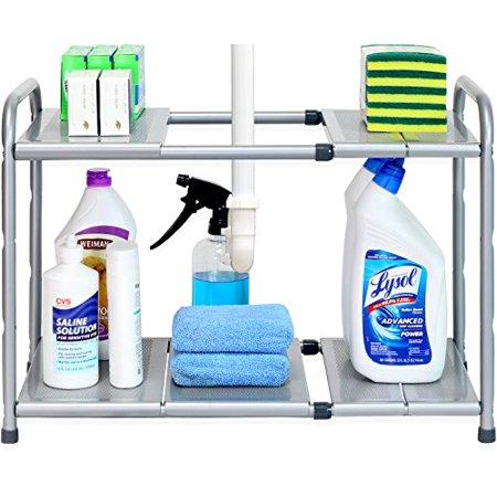 Expanding Shelf Organizer (SimpleHouseware Under Sink 2 Tier Expandable Shelf Organizer Rack, Silver (expand from 15 to 25)