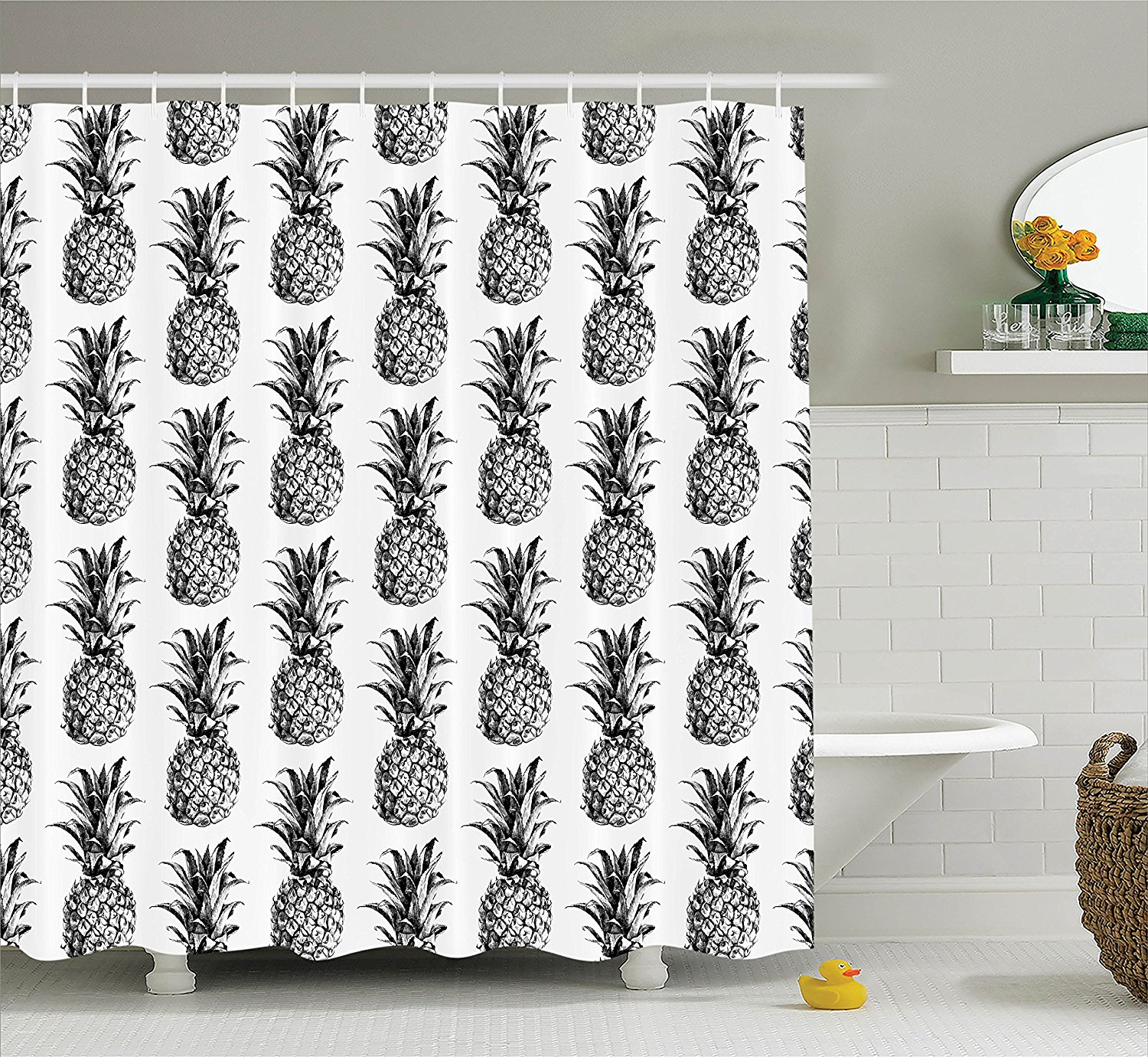 Pineapple Decor Shower Curtain Set By , Artistic Hand