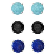 Set of 3-pair Sterling Silver 9-mm Turquoise/ Black/ Bright Blue Ice Cubic Zirconia Stud Earrings