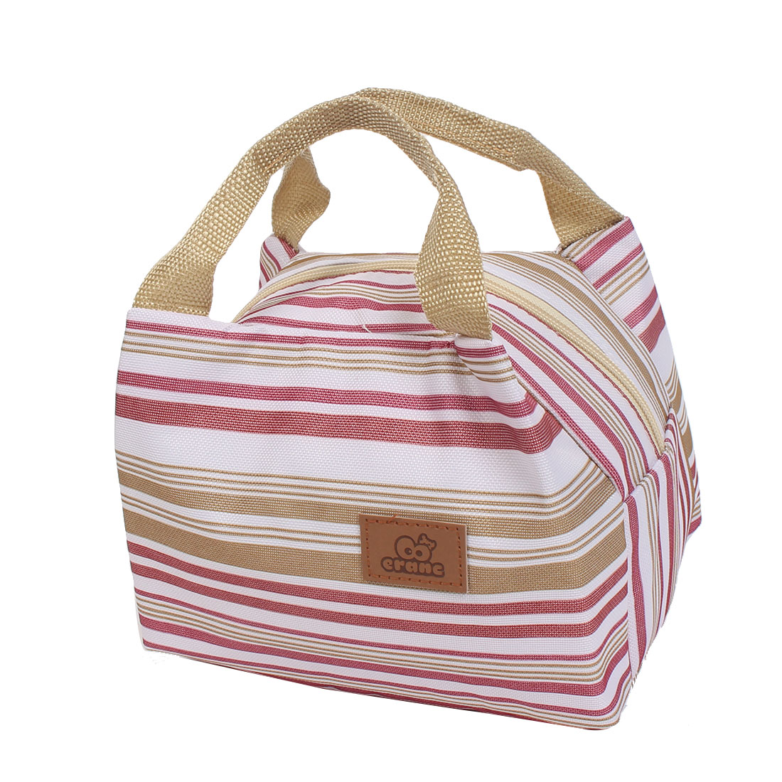 Canvas Zippered Thermal Insulation Cooler Insulated Lunch Tote Bag Multicolor Stripe Brown