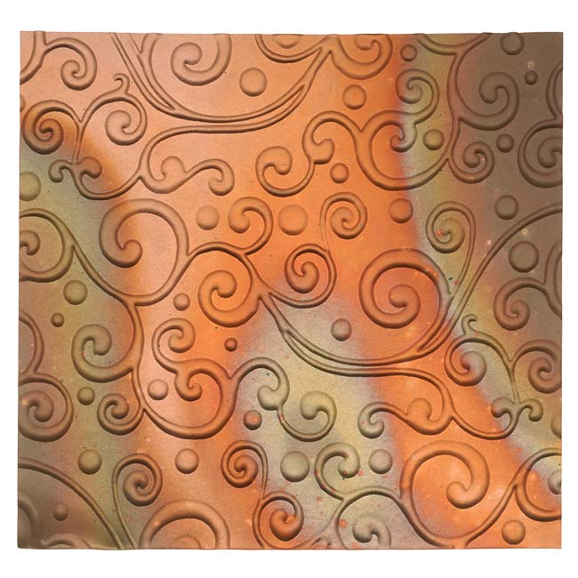 Lillypilly Copper Sheet Metal Whimsy Embossed Flamed Patina 36 Gauge - 3x3 Inch