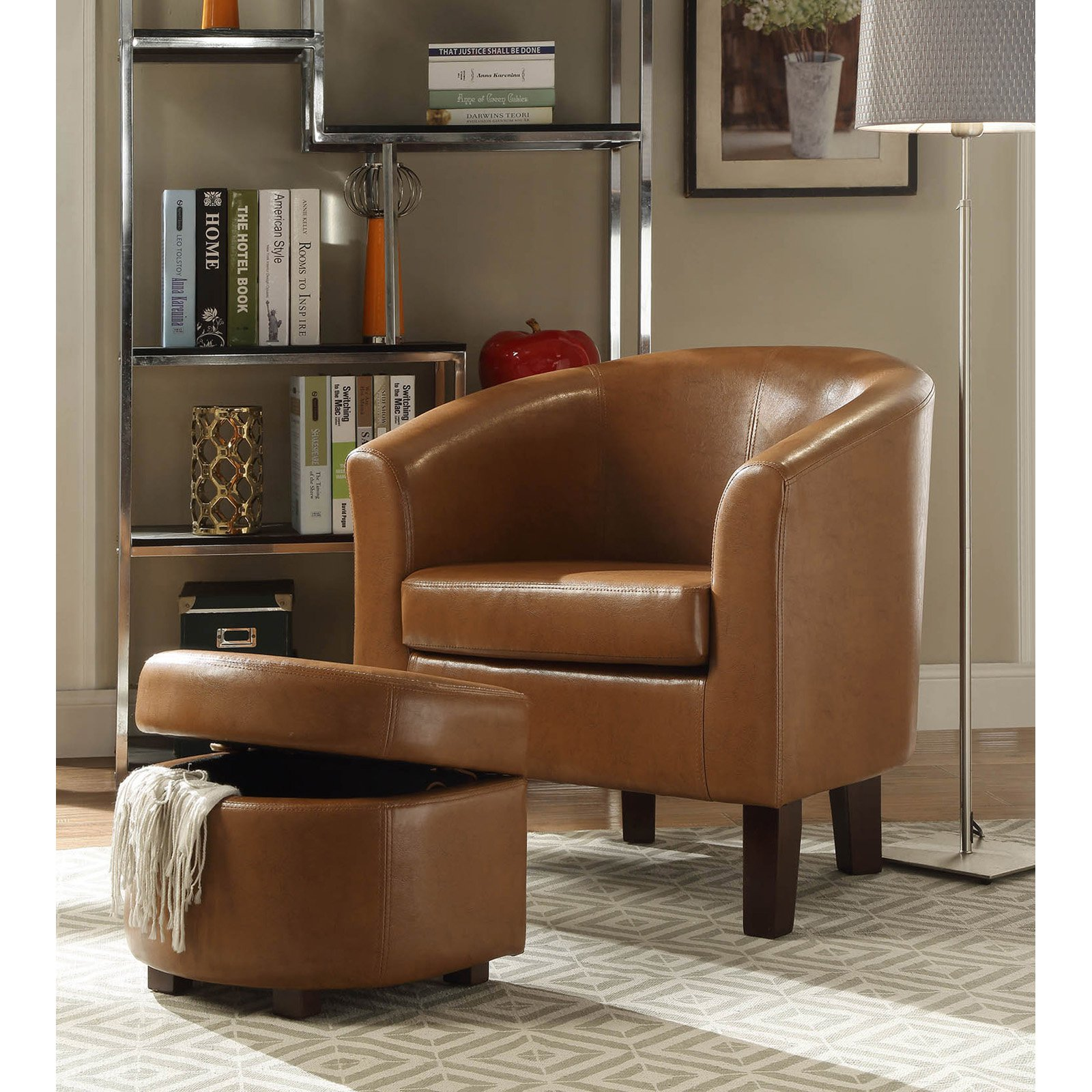 4D Concepts Laguna Club Chair with Storage Ottoman