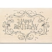 Rubber Stamp With Wood Handle, Happy Birthday Flourish Frame Multi-Colored