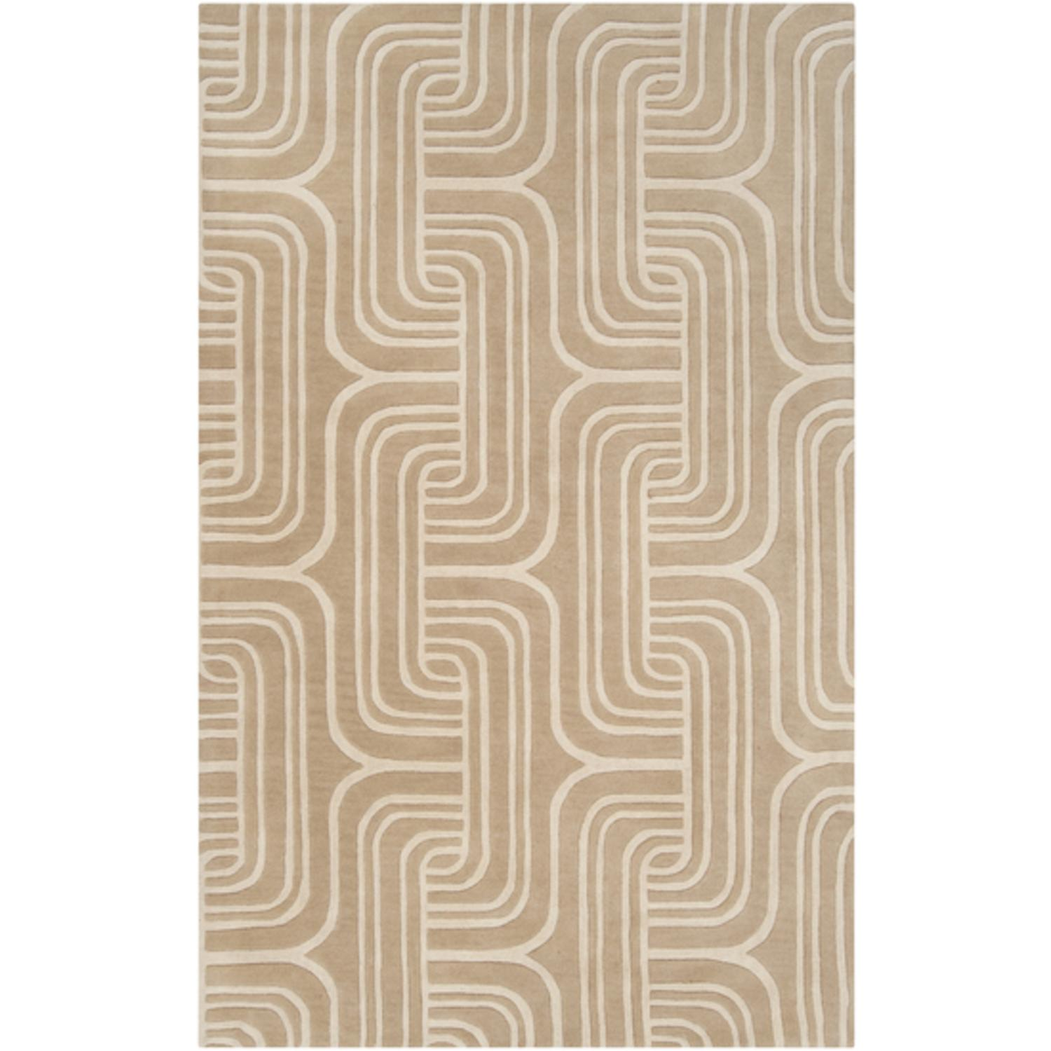 2' x 3' Oatmeal Dune Parchment and Desert Sand Wool Area Throw Rug