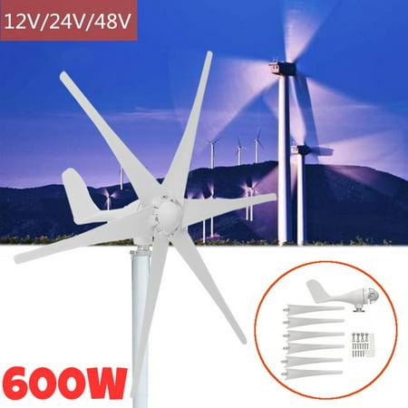 6 Nylon Fiber Blades  Max 800W 12V/24V/48V Wind Turbine Generator Windmill Power Generator Green Energy Generating Electric Aerogenerator (Excluding