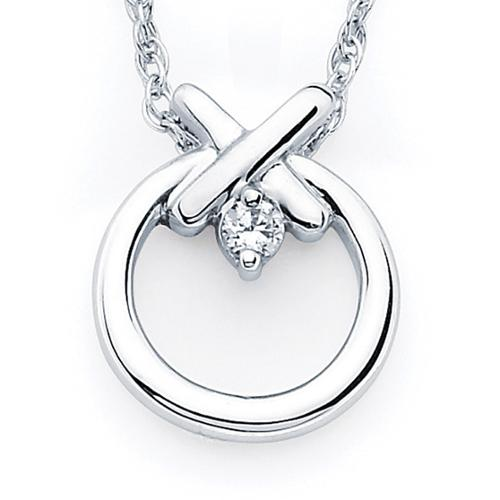 Boston Bay Diamonds  925 Sterling Silver Diamond Accent Hugs and Kisses Pendant Necklace