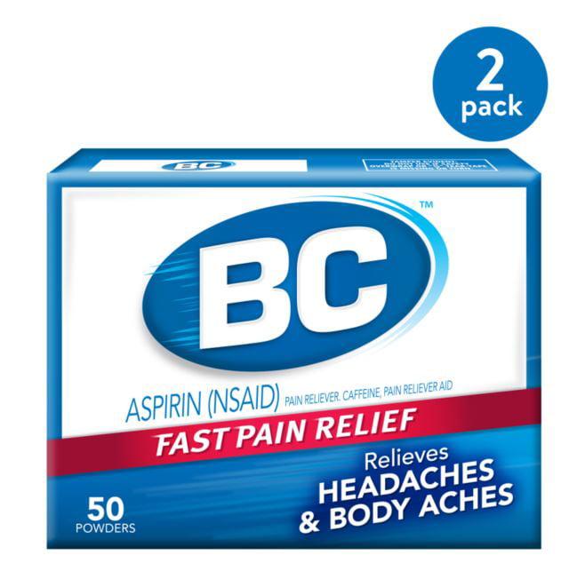 (2 Pack) BC Fast Pain Relief Aspirin Powder Stick Headaches & Body Aches, 50.0 CT