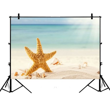 ZKGK 7x5ft Summer Beach with Starfish Sea Shells Polyester Photography Backdrop For Studio Prop Photo Background
