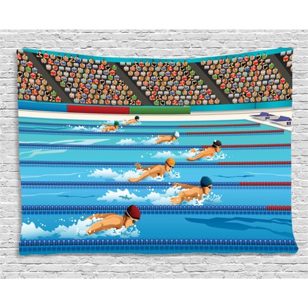 Theme For Olympics (Olympics Decorations Tapestry, Illustration of Swimmers Swimming Competition Sports Theme Cartoon, Wall Hanging for Bedroom Living Room Dorm Decor, 60W X 40L Inches, Blue Beige Red, by)