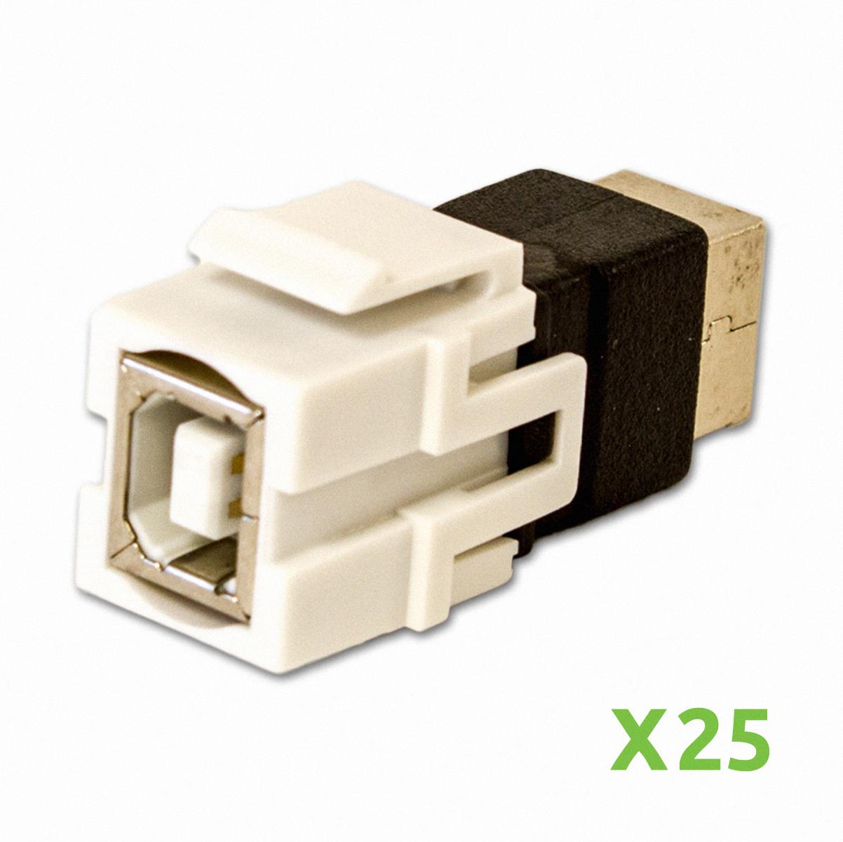NavePoint USB 2.0 B Female to Female Keystone Adapter Whi...
