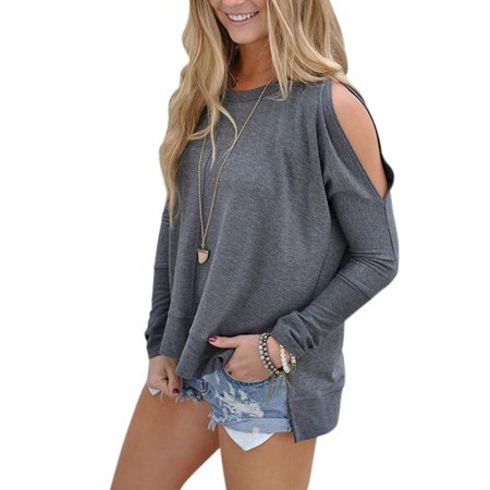 711ONLINESTORE Women's Cut Out Long Sleeve Tunic Blouse