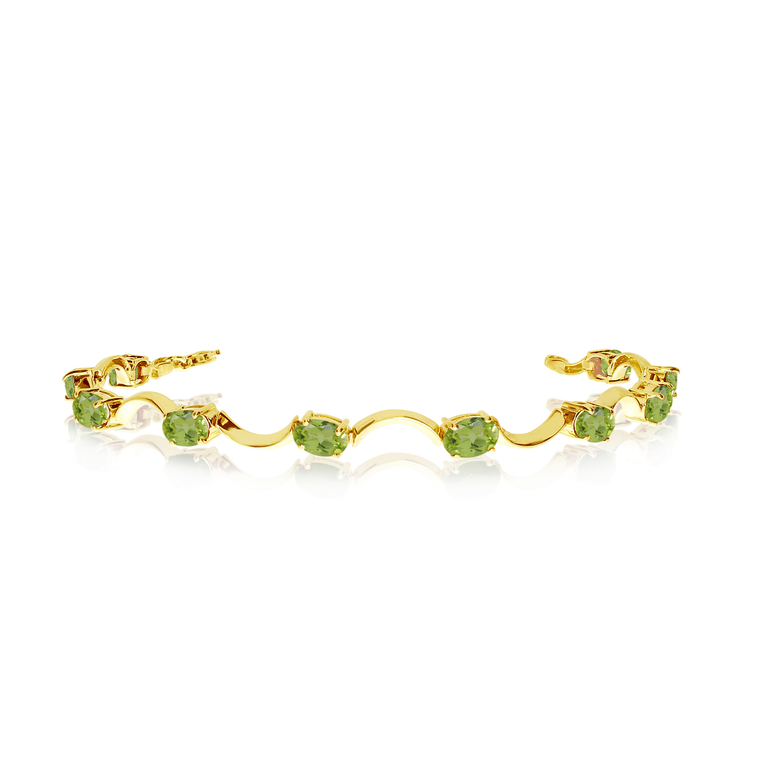 14K Yellow Gold Oval Peridot Curved Bar Bracelet by