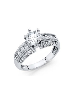 14K Solid White Gold 1.00 cttw Polished Cubic Zirconia Round Cut Wedding Engagement Ring with Side Stones, Size 8