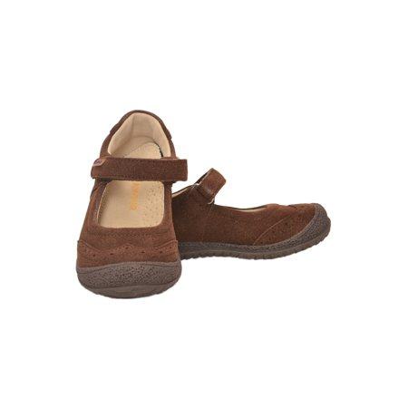 Girls Brown Suede Brogue Detail Flexible Sole Mary Jane Shoes