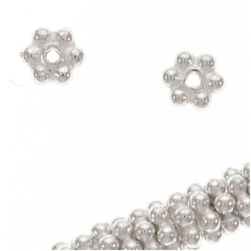 Bright Bali Sterling Silver Daisy Spacers 3.5mm (12)