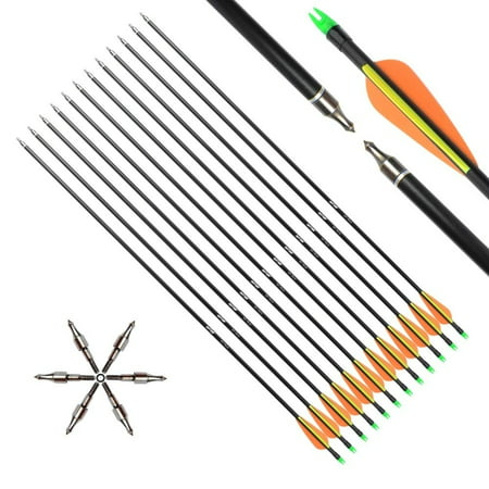 ANTSIR 30inches Archery Target Arrow-Hunting Arrow for Adult and Youth Practice,with Double Shaft Steel Field Tip for Compound & Recurve Bow 12pcs thumbnail