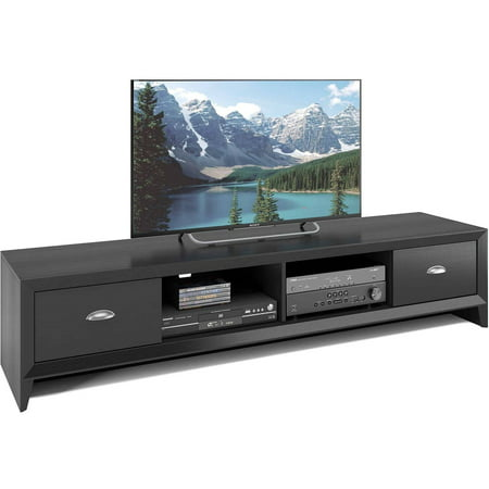 CorLiving TLK-802-B Lakewood Extra Wide TV Bench in Black Wood Grain Finish for TVs up to 80″