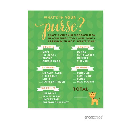 What's In Your Purse?  Jungle Safari Baby Shower Games, - Baby Shower Safari Games