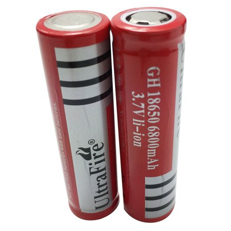 2PCS UltraFire 18650 Battery 6800mAh 3.7V Li-lon Rechargeable Charger For Flashlight