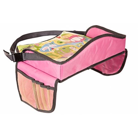 Childrens Travel Tray - Kids Play Tray for Snacks Car Bus Train and Plane Journeys - Small - Pink - By Driving With Kids - Works on Buggy and - Planes Trains Autos